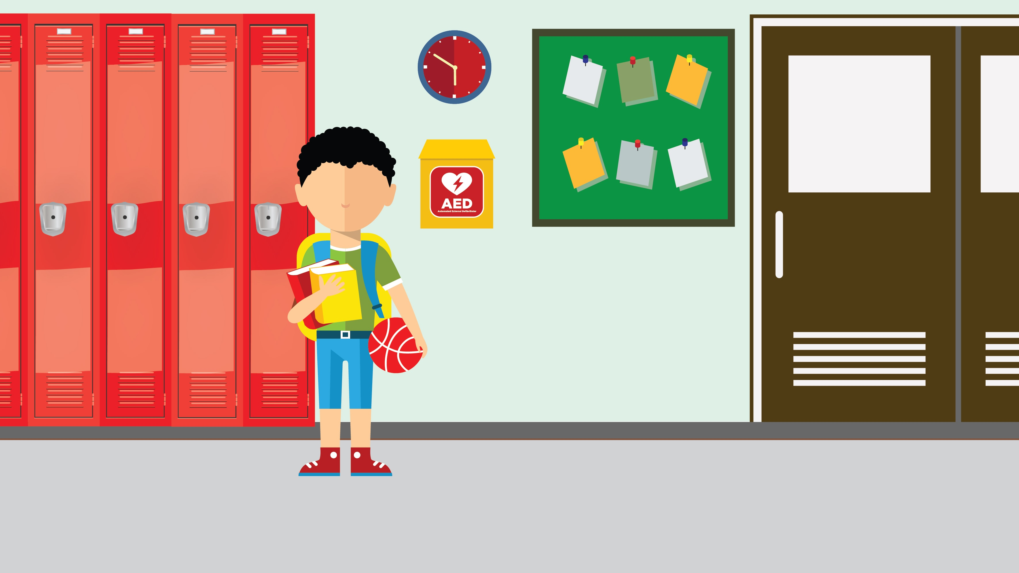 Illustration of student standing next to an automated external defibrillators (AED)