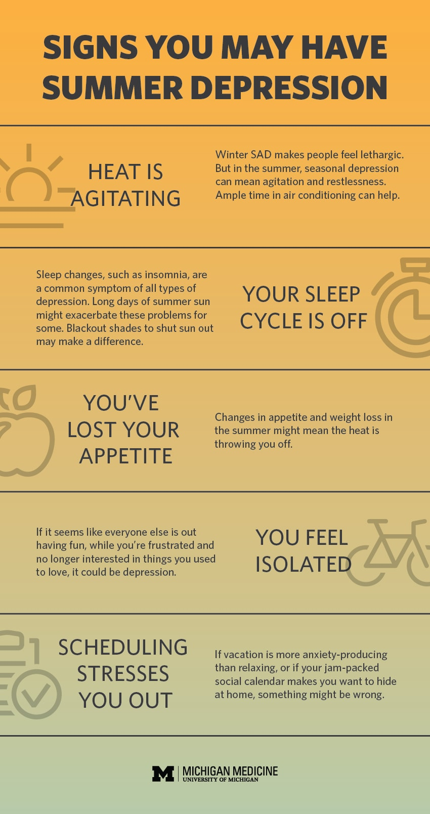 5 signs and symptoms of summer depression infographic