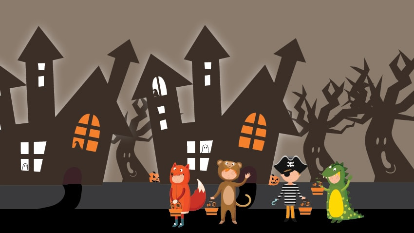 Image of haunted houses and trick or treaters outside