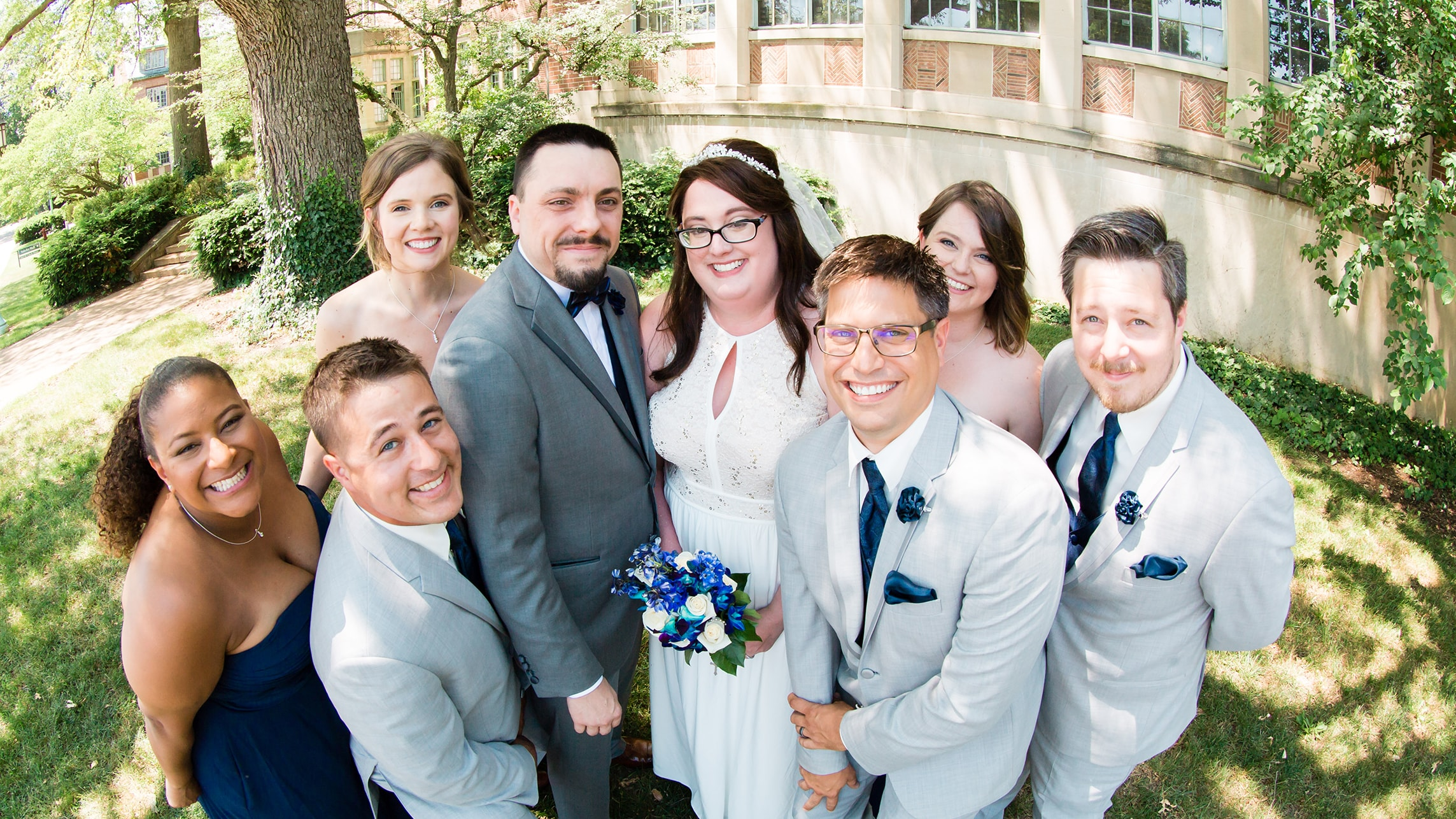 Caitlin Boyle Wetzel and Richard Wetzel, surrounded by their wedding party