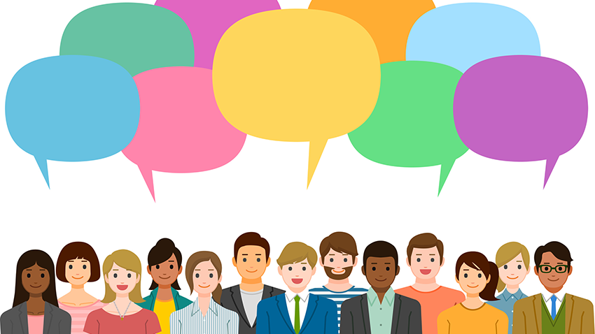 Graphic of a variety of people with speech bubbles above.