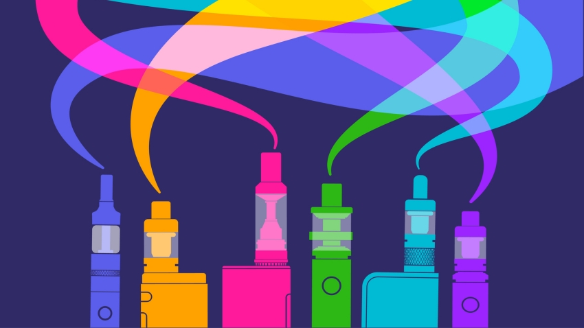 color e-cigarettes emitting colorful smoke