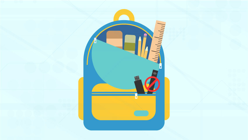 Light blue background with teal backpack and school supplies with vape inside