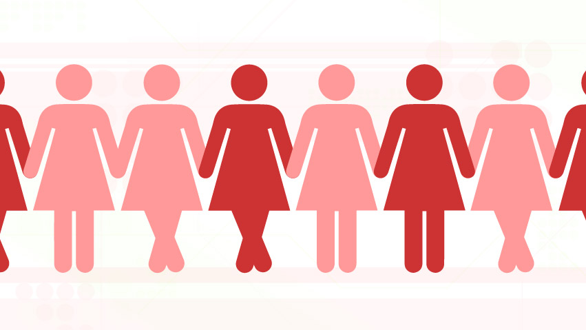 Graphic of bathroom sign women.