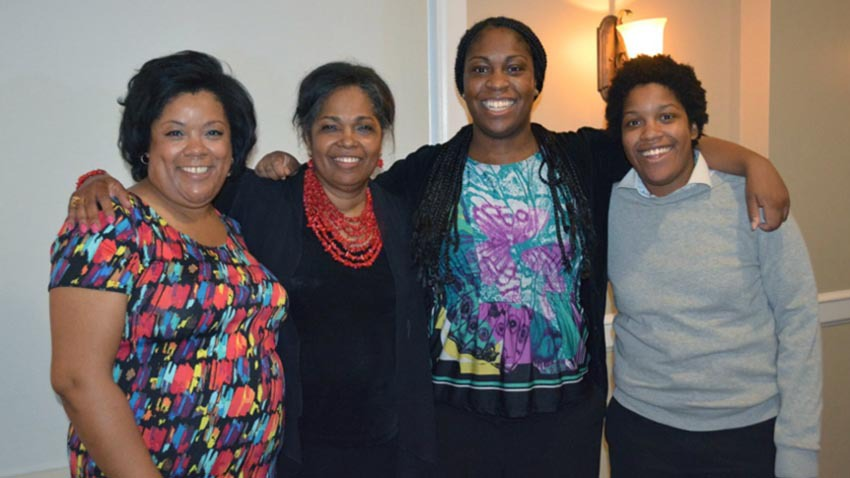 Tara Ogunde with her mother and sisters.