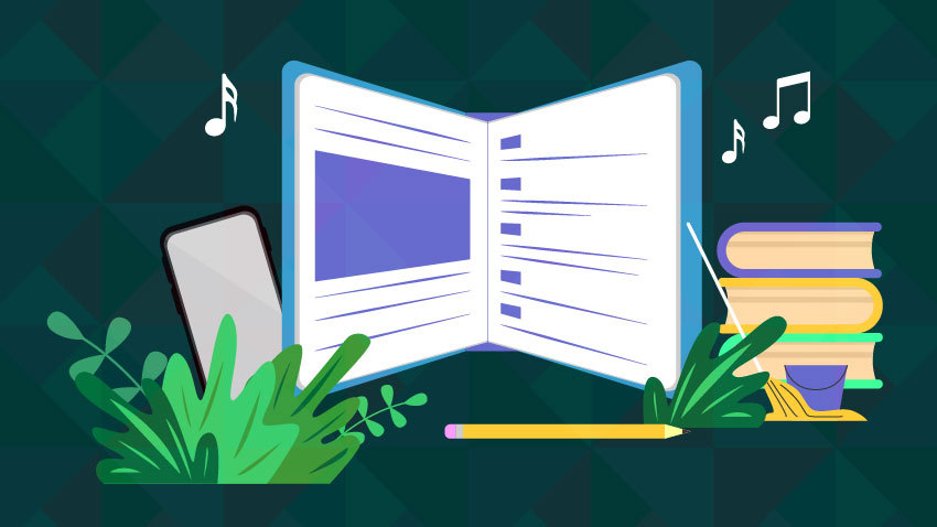 Graphic image with a scheduler, books, music notes, greenery, phone, pencil, schedule and mop