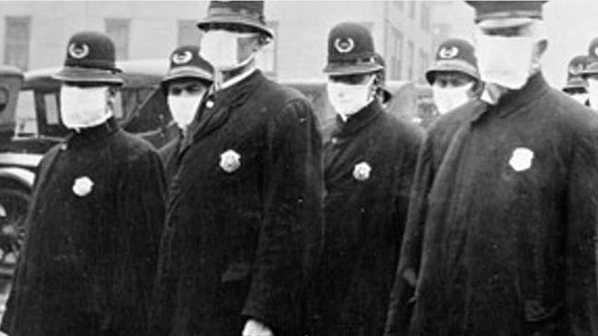 policeman in seattle in 1918 wearing masks