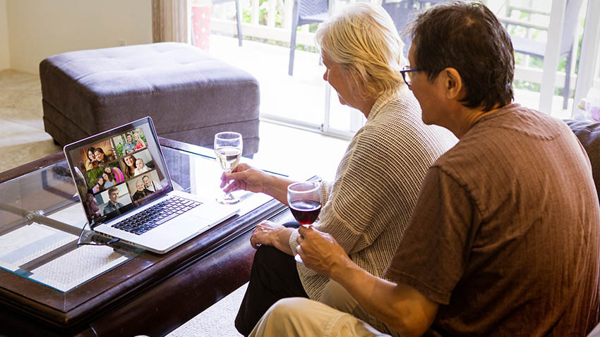 couple having a virtual get together