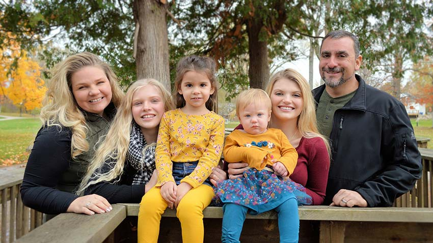 Samantha and Jeff Whyte with daughters Madelyn,1, Scarlett, 3, Mariah, 12, and Shannon, 15.