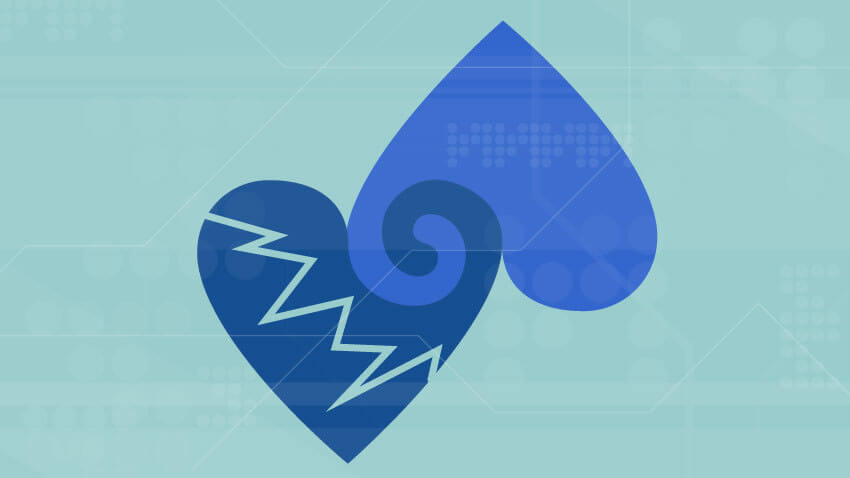 Blue hearts connected from top on light blue background