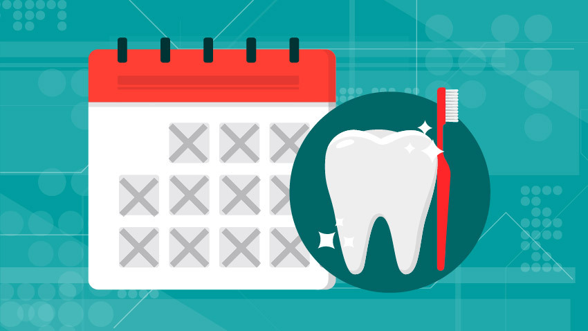 calendar with tooth and red toothbrush with teal background