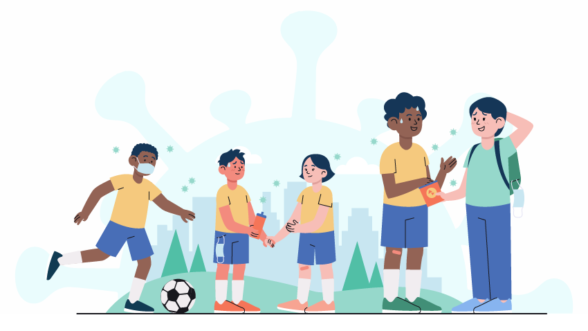 kids soccer talking outside with two parents with only one person wearing a mask properly and virus particles floating around and looming in background in teal color