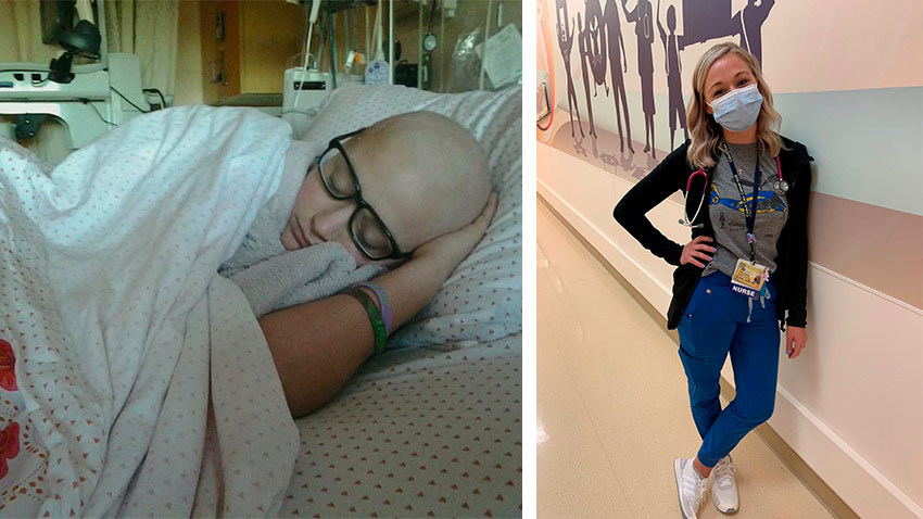 girl in hospital bed on left sad and on right standing proud as a nurse on hospital floor