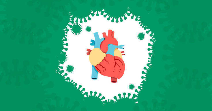 heart surrounded by green coronavirus cells