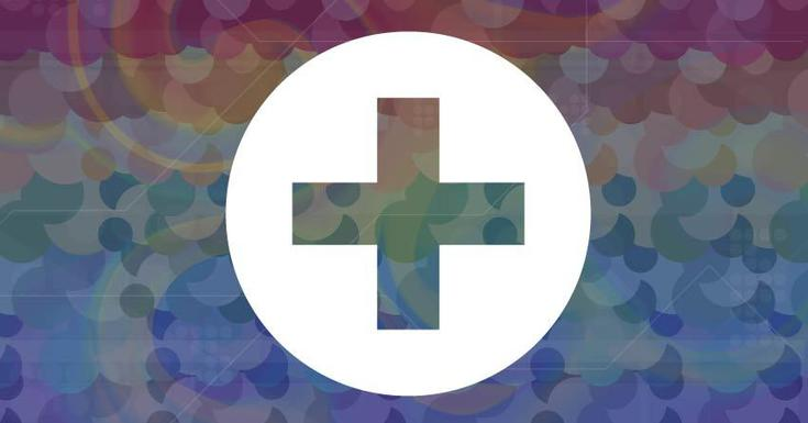white health care cross image with rainbow color background