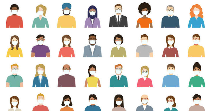 all different looking cartoon people wearing masks all assembled in rows from chest up