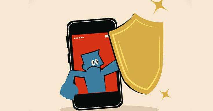Blue animated guy on cellphone with shield protecting oneself.