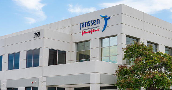 Janssen and johnson&Johnson building with windows and blue sky with white clouds