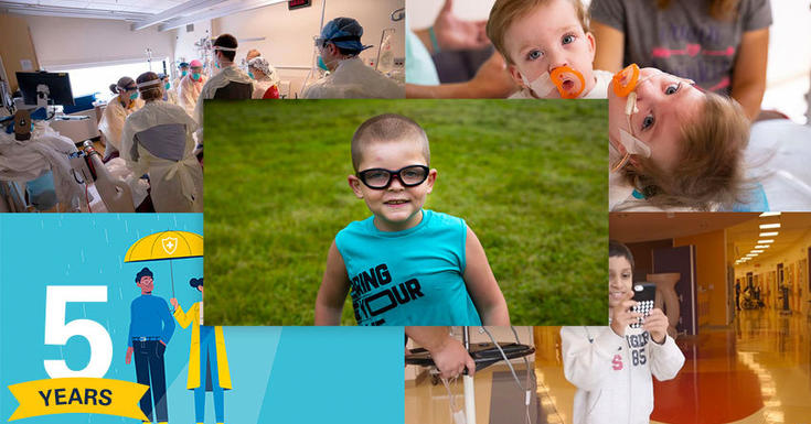 collage of top pictures of a little bou with glasses, twi girls, a person standing an umbrella, kids playing a game and staff all together in hospital room with patient during COVID