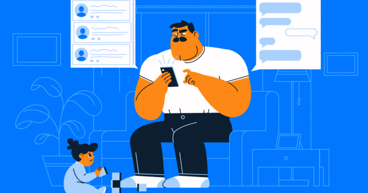 father with white shirt and black pants on who is on his cell phone with kids sitting on floor with blocks and bubbles on right and left of the dad with bright blue background