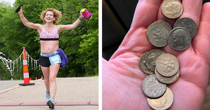 Woman marathon running with handful of dimes