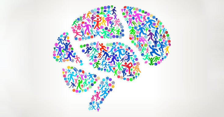 brain colorful drawing active symbols represented inside on white background