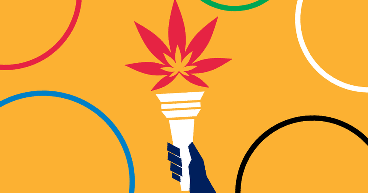 orange background with olympic torch being held by dark blue hand and circles around it