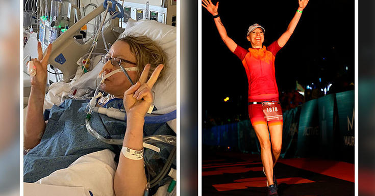 woman in icu on left and running marathon on right with hands up high in joy wearing red
